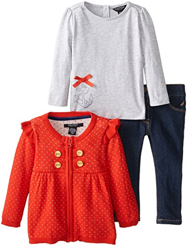 Nautica Baby-Girls Infant 3 Piece Dot Sweater And Denim Set, Dark Red, 24 Months back-1020545