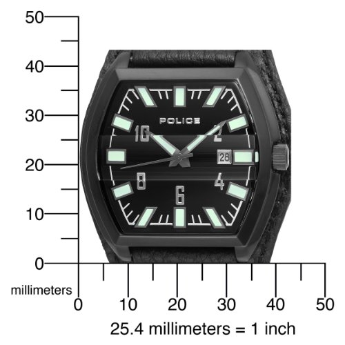 Police Distinct 12548JSB/02 with Black Leather Strap and Black Dial