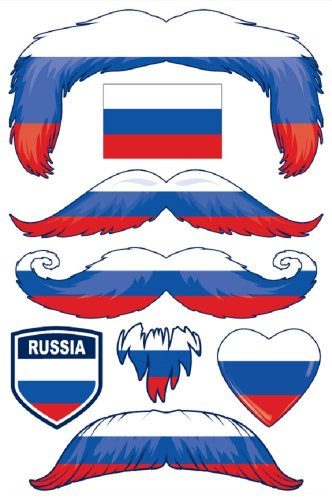 StacheTATS Russia Temporary Mustache Tattoos - 1