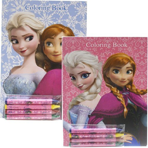 Disney Frozen Coloring Books Blue and Pink Elsa Anna (2 Books)