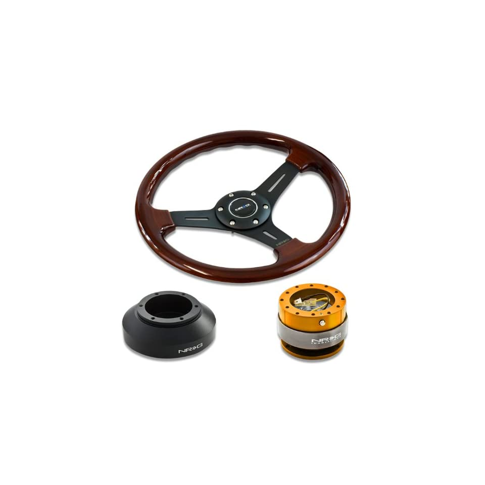NRG Innovations 13 330mm Deep Dish Style Wood Grain Black Spokes Racing Steering Wheel Combo with 6 Hole Short Hub Adapter with Gen 2.0 Rose Gold Quick Release Kit SRK 150H