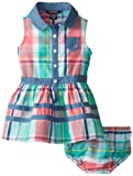 Nautica Baby-Girls Infant Plaid Chambray Detail Dress, Light Teal, 24 Months