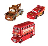 Disney Pixar Cars 2 Character Stars Double Decker Bus, Race Team Mater & Lightning McQueen Pack