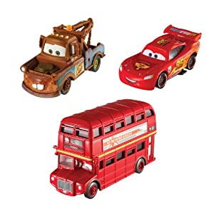 Cars 2 Collector Double Decker Bus, Mater, and Lightning McQueen Vehicle 3-Pack