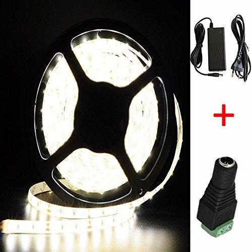 Kaltweiß 20M (5M x 4) SMD 5630 300 LEDs (60 LEDs / Meter ) LED Strip Leiste Selbstklebend Streifen Lichtband Lichterkette 12 Volt mit Netzteil (Transformator) x 2 und DC Stecker x 2