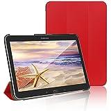 JETech® Gold Slim Fit Galaxy Tab 4 10.1 Smart Funda Carcasa con Stand Función y Imán Incorporado para el Sueño/Estela para Samsung Galaxy Tab 4 10 pulgadas (Galaxy Tab 4 10.1Pulgadas, Rojo)