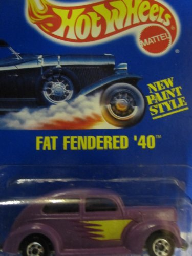 Fat Fendered '40 1993 Hot Wheels #216 Purple with Basic Wheels on Solid Blue Card - 1