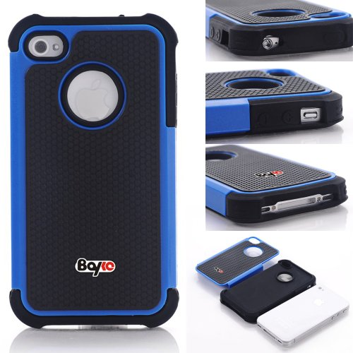 Bayke Brand High Impact Dual Layer 2in1 Hybrid Armor Bumper PC and Soft Silicone Rubber Gel Skin Case for iPhone 4/4S (Blue) Picture