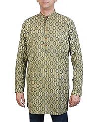Viniyog Men Printed Cotton Green Short Kurta