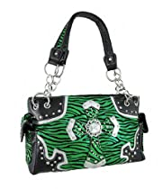 Metallic Green Zebra Purse with Ornate Cross