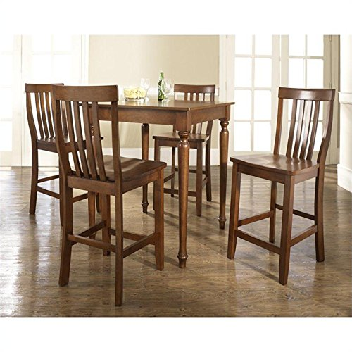 Crosley 5 Piece Pub Dining Set w/ Turned Leg and School House Stools in Classic Cherry