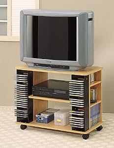 natural finish wood entertainment center tv cart stand with cd rack vcr dvd shelf. Black Bedroom Furniture Sets. Home Design Ideas
