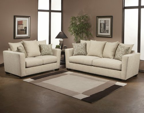 Picture of Benchley 2pc Sofa Loveseat Set Contemporary Floral Accent Pillow in Sweet Pea (VF_BCL-WILLOW) (Sofas & Loveseats)