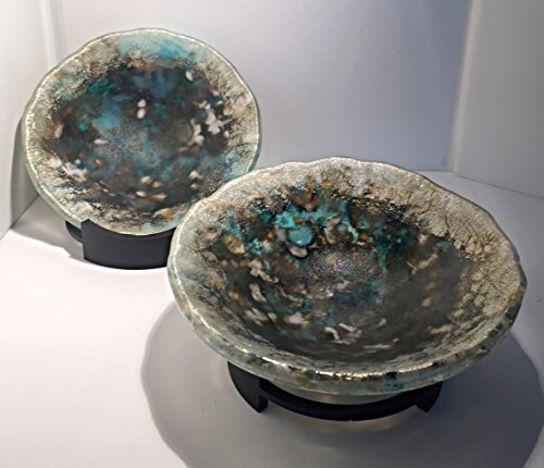 Gold Metallic Accent Art Glass Bowl and Wrought Iron Stand from the Volcanic Ice Series