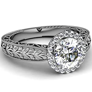 1.10 Ct Round Cut Diamond Vintage Style Majestic Engagement Ring Pave Set VS2 GIA Certificate # 2156746839