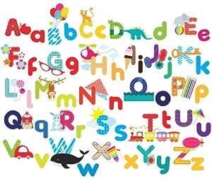 Whimsical Alphabet Decorative Peel & Stick Wall Art Sticker Decals from Cherry Creek LLC