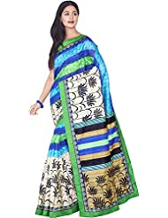 Aadarshini Women's Raw Silk Saree (110000000437, Blue & Beige)