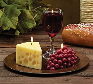 Pack of 3 Merlot Scented Wine, Cheese & Grape Novelty Candle Gift Sets