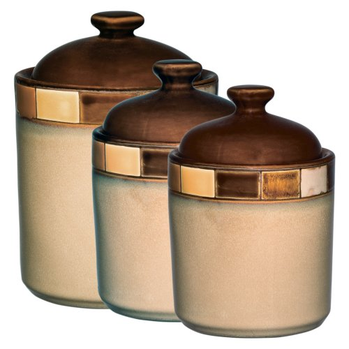 save 2 00 gibson casa estebana 3 piece canister set kitchen canisters vintage chocolate brown ceramic by