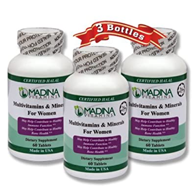 3 X Halal Multi-vitamins & Minerals for Women - Made in USA by Madina Halal Vitamins