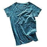 【ノーブランド 品】女性 ラウンドネック 半袖 メランジ Tシャツ ヨガ ジムトップ スポーツウェア 全4色2サイズ - M, ブルー