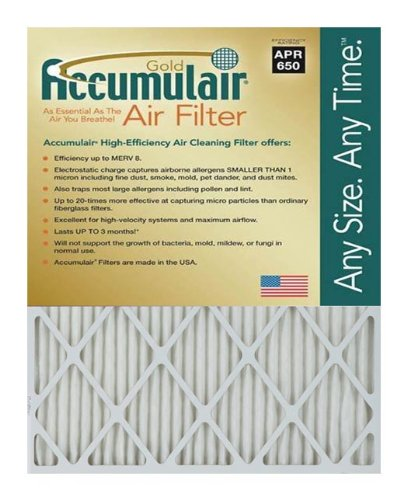 Accumulair Gold 20x22x2 (19.5x21.5x1.75) MERV 8 Air Filter/Furnace Filters (4 pack)