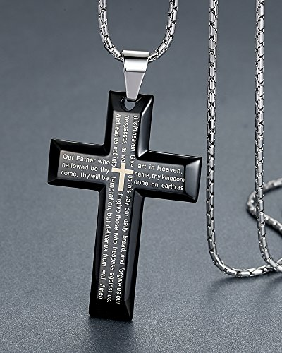 """Men's Stainless Steel Large Lord's Prayer Cross Pendant Necklace, Black Color, 23"""" Chain, ddp020he by Aoiy"""