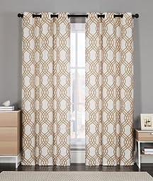 2 Pack: GoodGram Shabby Geometric Grommet Top/Foam Back Curtain Panels - Assorted Colors (Taupe)