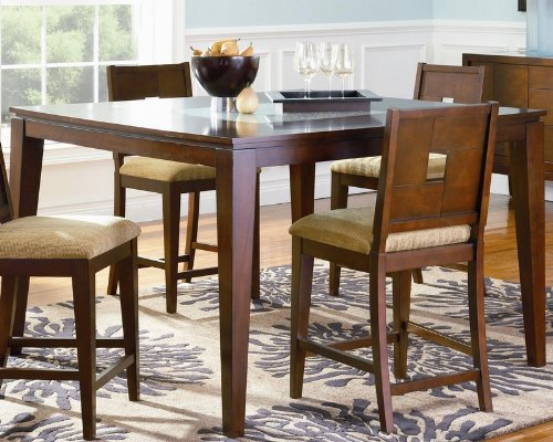 Buy Low Price Coaster Counter Height Dining Table with Cracked Glass Top Cappuccino Finish (VF_102058)