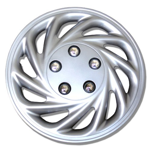TuningPros WSC-868S15 Hubcaps Wheel Skin Cover 15-Inches Silver Set of 4 (2012 Toyota Yaris Hubcaps compare prices)