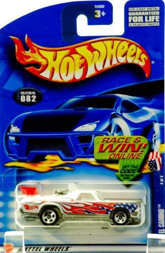 2002 - Mattel - Hot Wheels - Star Spangled Series 4 of 4 - '68 El Camino SS (White / U.S. Flag Graphics) Collector #082 - Red Spoiler / Rear Engine / Custom Wheels - New - Out of Production - Limited Edition - Collectible