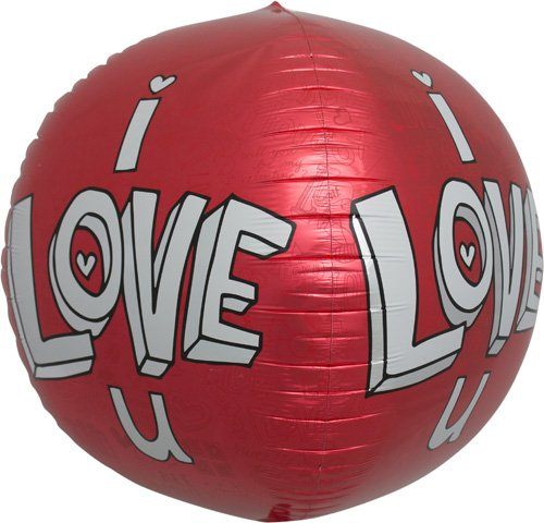 I Love U Doodles Sphere Helium Foil Balloon - 17 inch