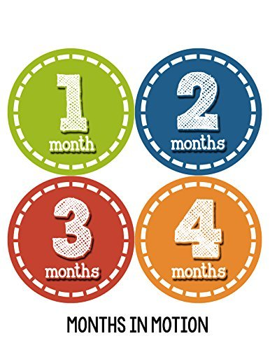Months in Motion 082 Monthly Baby Stickers Baby Boy Month 1-12 Milestone Age