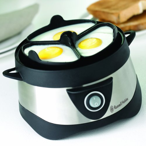 Im Bild: Russell Hobbs Cook@Home 14048-56 Eierkocher (für gekochte und gedämpfte Eier) schwarz/silber
