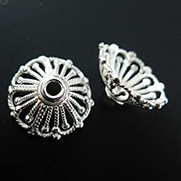 Bead Caps , Solid 925 Sterling Silver, Bright Silver - 14mm (2 pcs)