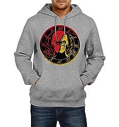 Fanideaz Men's Cotton Ying Yang Zoom Vs Flash Hoodies For Men (Premium Sweatshirt)_Grey Melange_L
