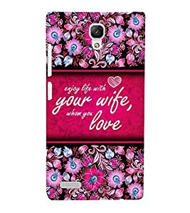 Enjoy Life With Love 3D Hard Polycarbonate Designer Back Case Cover for Xiaomi Redmi Note :: Xiaomi Redmi Note 4G