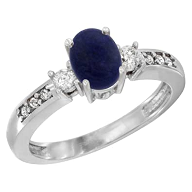 Revoni 14ct White Gold Natural Lapis Ring Oval 7x5 mm Diamond Accent