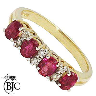 BJC© 9ct Yellow Gold Ruby & Diamond Half Eternity Engagement Ring Size M