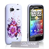 White / Purple Flower Silicone Gel Case Cover For The HTC Sensation / Sensation XE With Screen Protector Film And Grey Micro-Fibre Polishing Clothby Yousave