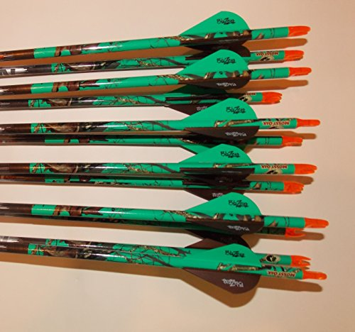 Carbon Express Predator II 6075 Carbon Arrows w/Blazer Vanes Mossy Oak Blaze Wraps 1 Dz. (Carbon Express 6075 compare prices)