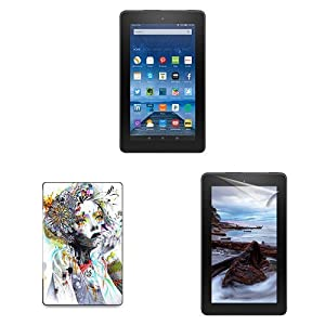 """Fire Essentials Bundle including Fire 7"""" Tablet without Special Offers, caseable Circulation Cover and Screen Protector"""