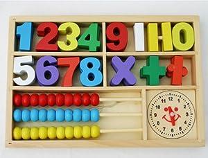 Número de madera del juego o los juegos de matemáticas con el ábaco y reloj en caja de madera marca Toys of Wood Oxford - BebeHogar.com