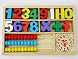 Wooden Number Game or Math Games with Abacus and Clock in Wooden Box - SPECIAL OFFER