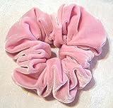Pink Velvet Hair Scrunchy-Regular