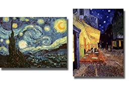 Starry Night & Cafe Terrace at Night by Van Gogh 2-pc Premium Stretched Canvas Set (Ready-to-Hang)