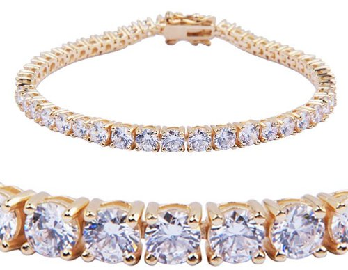 Gold Over Sterling Silver and Round-Cut Cubic Zirconia Streamlined Tennis Bracelet (4mm)