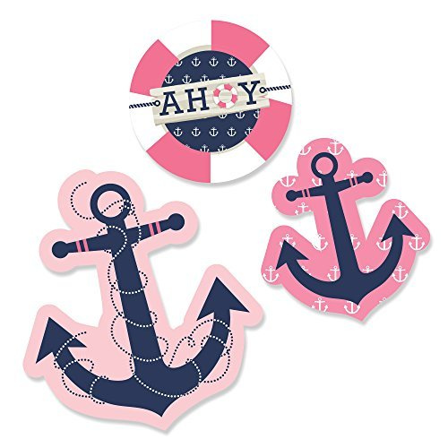 Ahoy - Nautical Girl - DIY Shaped Party Cut-Outs - 24 Count