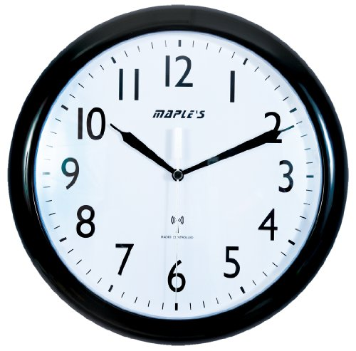 Maple's 10-Inch Wall Clock, Atomic Time Sync, White Face and Black Bezel