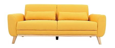 Miliboo - Divano design 3 posti tessuto giallo piedi in quercia EKTOR